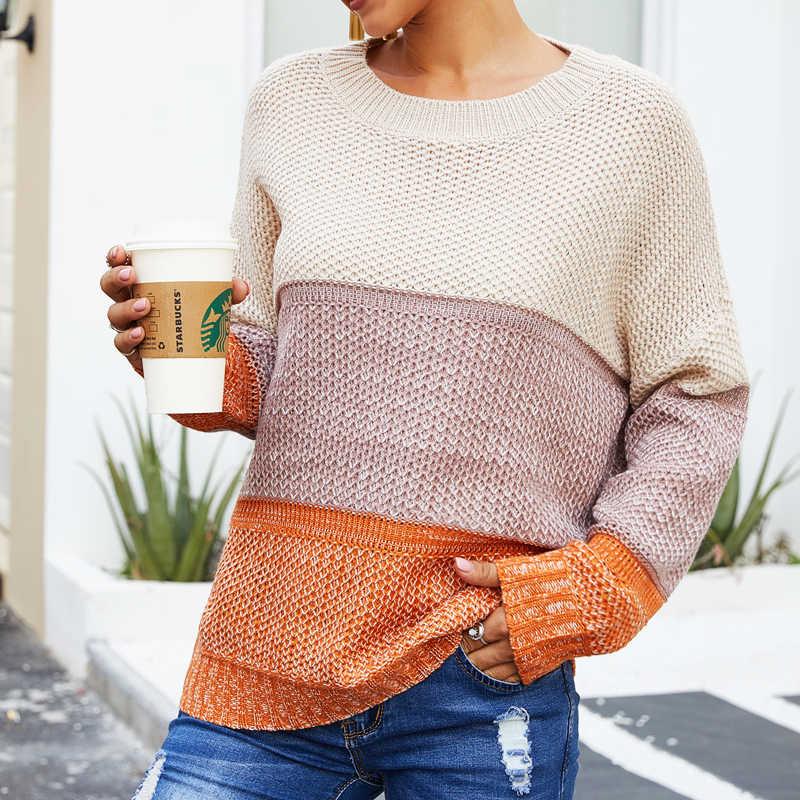 가을 캐주얼 스웨터 여성 겨울 패션 풀오버 2019 스플 라이스 뜨개질 스웨터 니트 여성 하이 스트리트 세련된 점퍼 풀오버