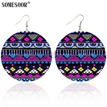 SOMESOOR African Fabric Styles Wooden Ethnic Earrings Bohemain Drop Dangle Loops Jewelry Both Sides Printed For Women Gifts