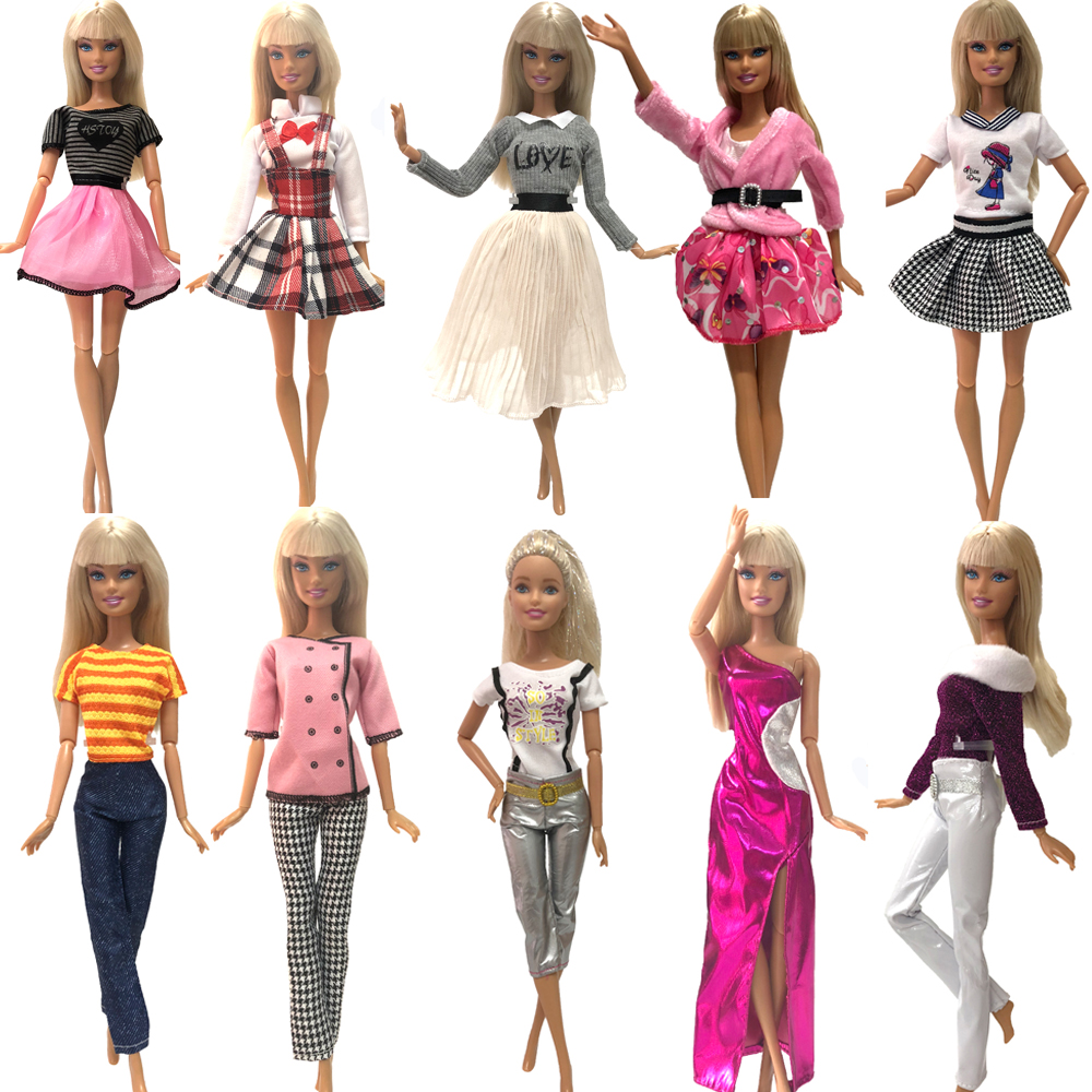 NK 1x Doll Dress Multicolor Outfit Daily Casual  Dress Shirt Denim Grid Skirt Wear Cute Clothes For Barbie Doll Accessories JJ