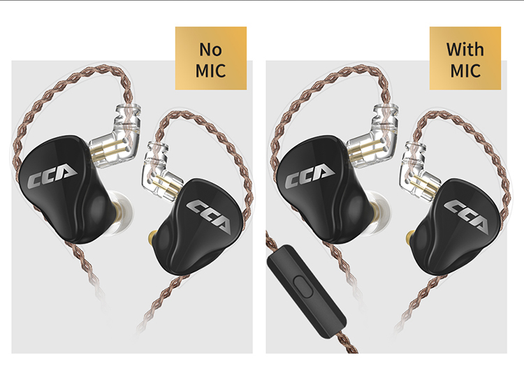 Cca ca16 7ba+1dd hybrid qdc in ear earphone hifi dj monito running sport earphone headset earbud headphone c12/ca4/a10 (black with mic)