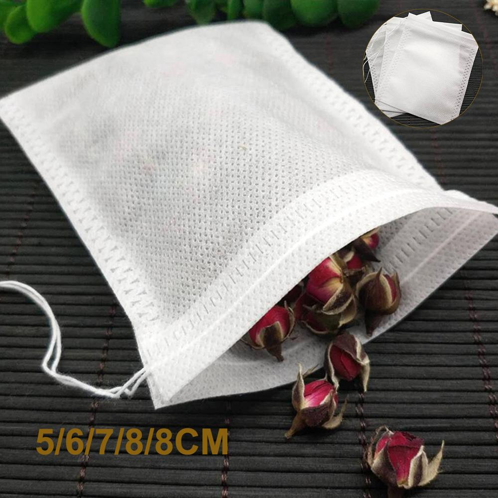 100Pcs Empty Teabags Disposable Drawstring Non-Woven Fabric Tea Herb Filter Bag Pouch Tea Package Bags Herbal Infusers Filters