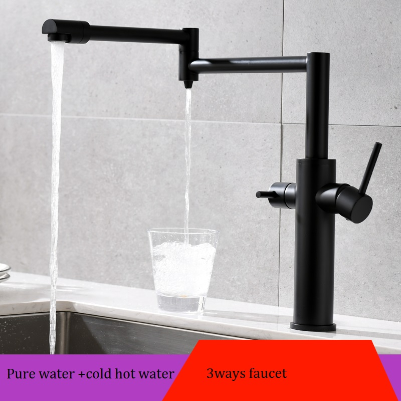 MTTUZK Black Hot Cold Pure Water 3in1 Kitchen Faucet Pure Faucet Drinking Water Mixer Tap Double Water Outlet Faucet Folding tap - 3