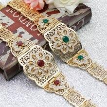 SUNSPICEMS Morocco Women Caftan Belt Gold Color Red Green Stone Ethnic Wedding Dress Kaftan Abaya Metal Waist Chain Belt Jewelry