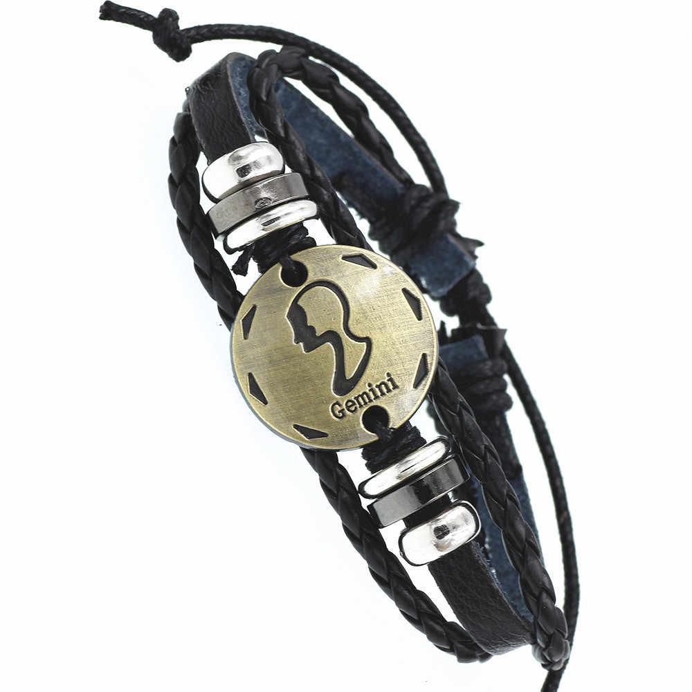 12 Constellation Zodiac Sign สร้อยข้อมือหนังถักสีดำมะเร็ง Leo Virgo Libra ทอ Bronze charm เครื่องประดับ Punk สร้อยข้อมือผู้ชาย