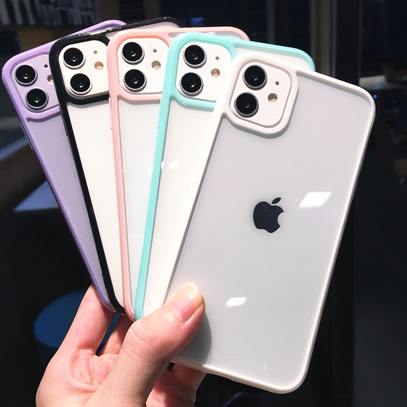 Shockproof Bumper Transparent Phone Case For iPhone 12 11 Pro Max XR XS Max X 7 8 Plus SE 2020 12Pro Soft TPU Candy Color Cover
