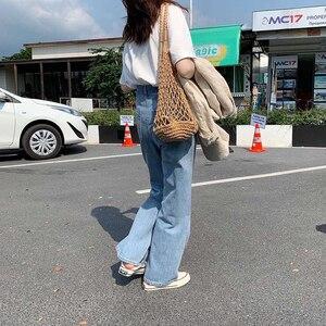 Image 5 - Lizkova Jeans Women Vintage Straight Pants Light Blue High Waist Dad Denim Pants 2020 Korean Style Streetwear MT6526