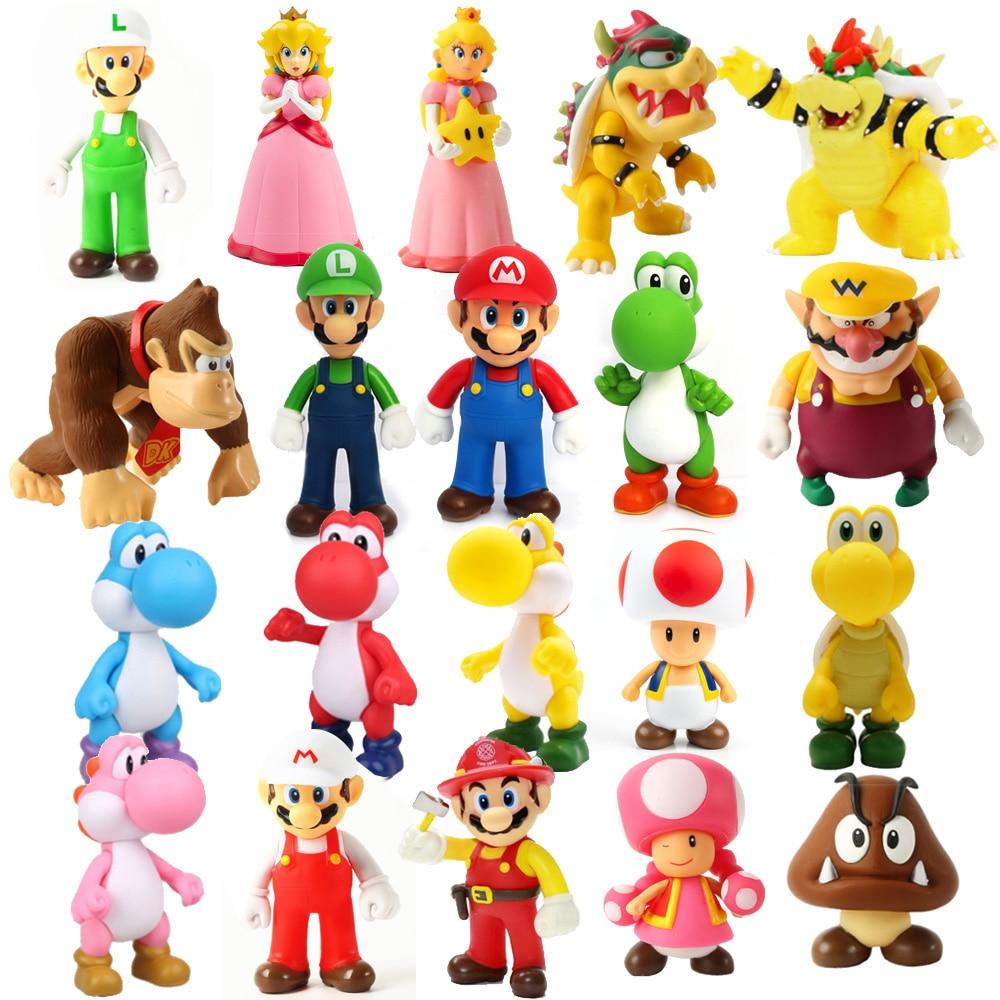 6-12cm Super Mario Bros Luigi Mario Yoshi Koopa Yoshi Mario Maker Odyssey Mushroom Toadette PVC Action Figures Toys Model Dolls