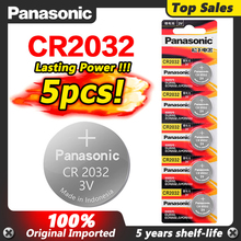 Panasonic 5 pçs 3v cr2032 cr 2032 baterias de lítio relógio de pulso moedas botão celula para relógio computador placa mãe calculadora