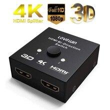 Divisor de vídeo hdmi hd completo 1080p, 3d 4kx2k, interruptor de vídeo hdmi 1x2x1, amplificador 1 em 2 tela dupla para hdtv