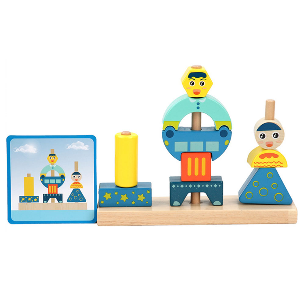Wooden Toys  Assembling Building Blocks Kids Toy Educational Children DIY 3D Building Blocks Toys Stacking High Bricks Kids Toys