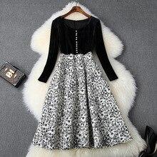 Европейская и американская женская одежда зима стиль длинный рукав бархат лоскутное жаккардовое модное платье
