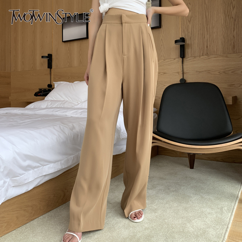 TWOTWINSTYLE Casual Women's Trousers High Waist Pocket Long Straight Korean Pants Female 2020 Autumn Oversized Fashion New