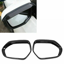 2Pcs Car Carbon Fiber Rearview Mirror Rain Eyebrow Covers Trim for Toyota Camry 2018 2019(China)
