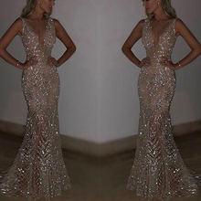Женское длинное вечернее платье русалка золотистое Платье макси