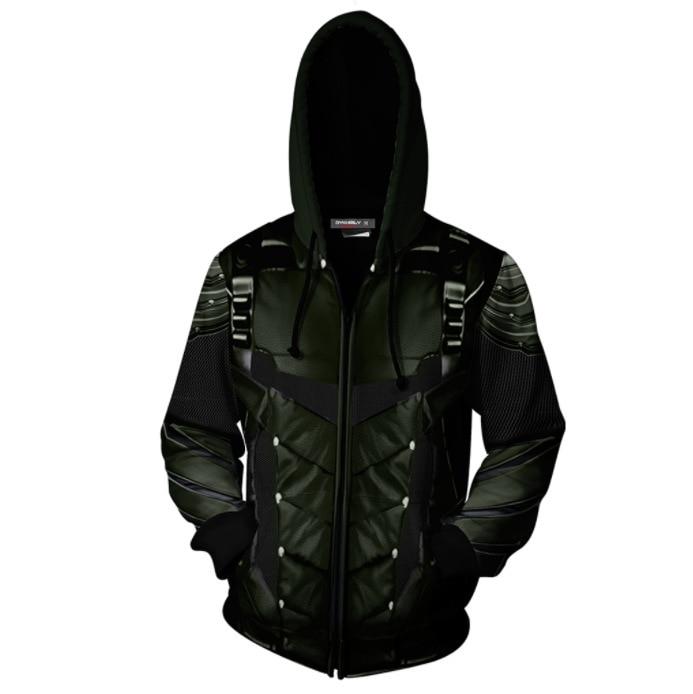 Green Arrow DC Superhero 3D Printed Zipper Cardigan Hooded Sports Hoodie Coat COS Related Products Coat