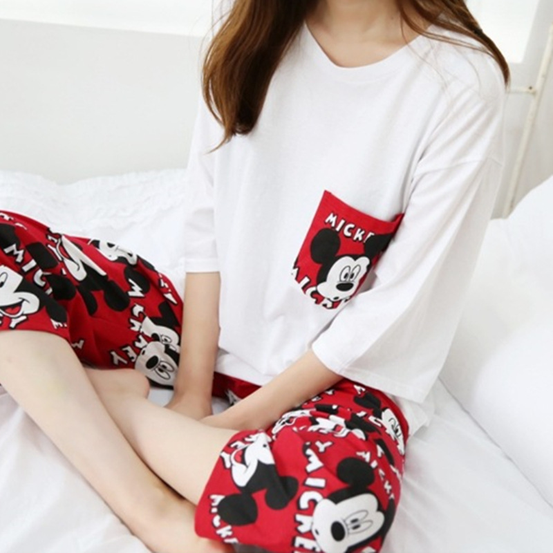 2019 Fashion Lovely Leisure Two Piece Set Mickey Printing Indoor Clothing Home Suit Sleepwear Winter Pajamas Woman Pijama Mujer 35