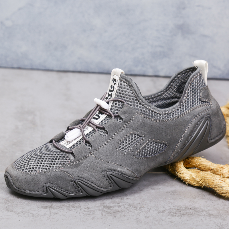 Fashion Men's Breathable Casual Shoes Pig Leather + mesh Male Sport Comfortable Men mocassin homme Lace up outdoor water Shoes