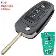 1 шт черный 433 МГц 3 кнопки флип пульт дистанционного ключа