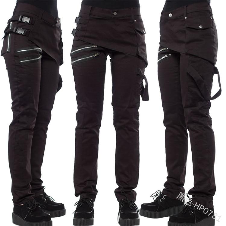 COLDKER S-4XL Women Fashion Punk Long Pants Black Pants Rock Zipper Pants Women Locomotive Trousers Ladies Gothic Clothing