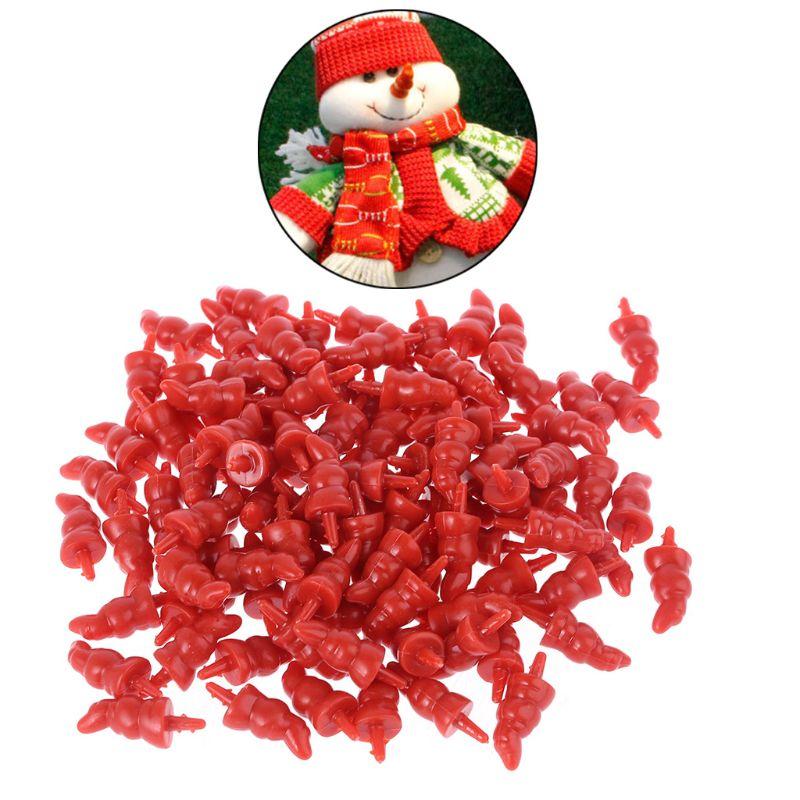50pcs 12x23mm Plastic DIY Santa Claus Snowman Nose for Handmade Craft Children Kids Toy Christmas Decor