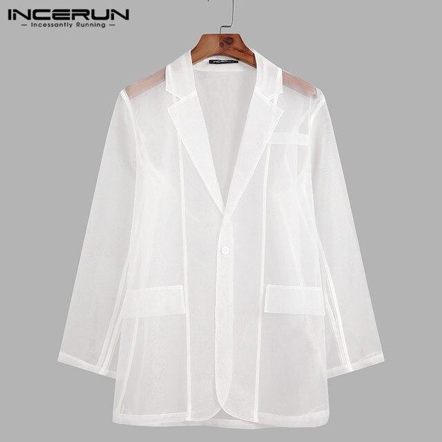 Fashion Men Mesh Blazers Transparent Lapel Long Sleeve Sexy Casual Coats 2021 One Button Streetwear Party Men Suit S-5XL INCERUN 3