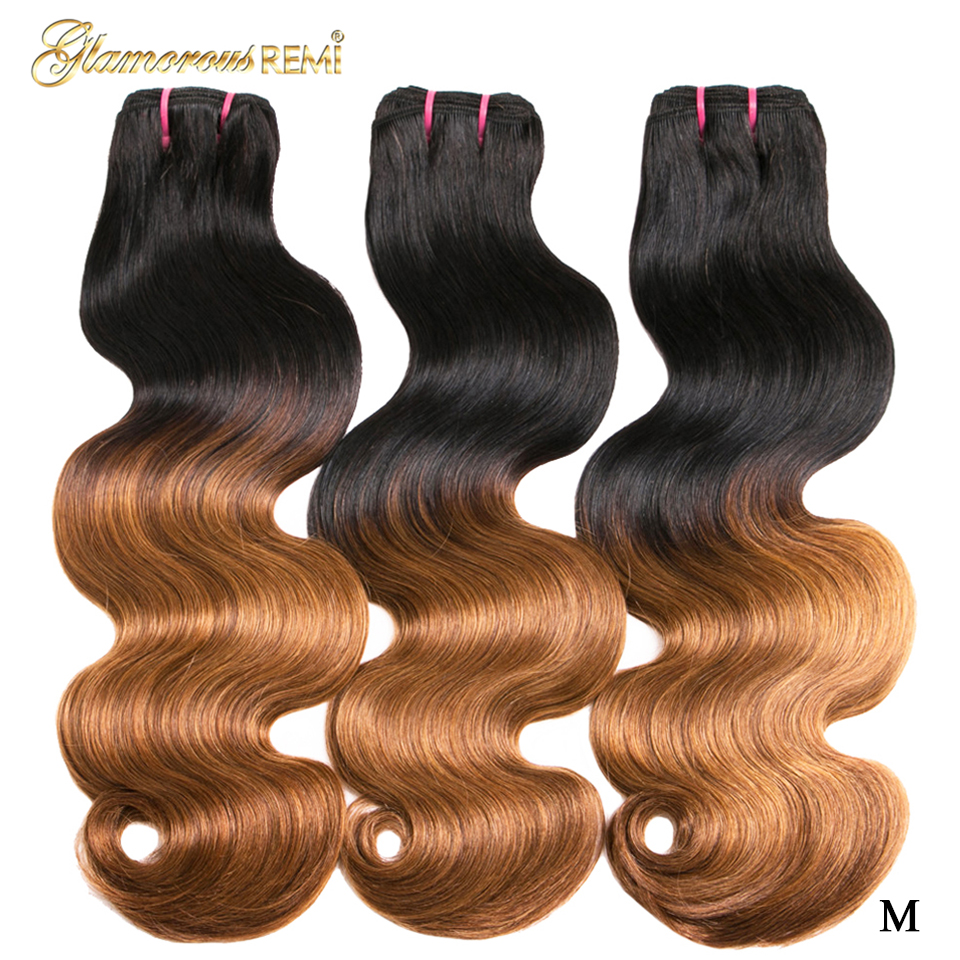 1b 27 Ombre Double Drawn Brazilian Body Wave Human Hair 3pcs 12-22inch Hair Weave Bundles Funmi Remy Hair Extension Middle Ratio