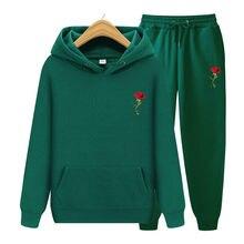 Conjuntos de hoodies + calças masculinas outono inverno com capuz moletom moletom moda masculina ajuste fino rosa imprimir hip hop pullover com capuz