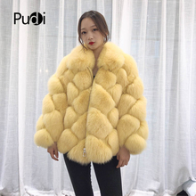 Pudi TX223901 women classic Real fox fur coat jacket overcoat lapel collar lady fashion winter warm genuine outwear
