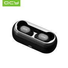 QCY T1C سماعات لاسلكية جديدة صغيرة مزدوجة بلوتوث V5.0 سماعات ثلاثية الأبعاد صوت ستيريو مع التطبيق مخصص