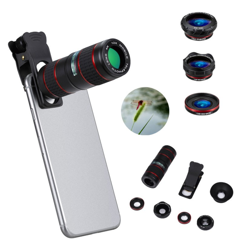 5pcs Cell Phone Camera Lens Kit 12X Adjustable Telephoto Lens Wide Micro Angle Fisheye Lenses For iOS Android Phone|Mobile Phone Lens| |  -
