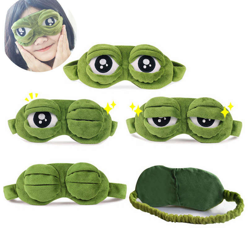 Cute Eyes Mask Plush Covered Sad 3D Green Frog Eye Mask Cover Relaxation Sleep Rest Travel Anime Fun Gift Beauty Glasses