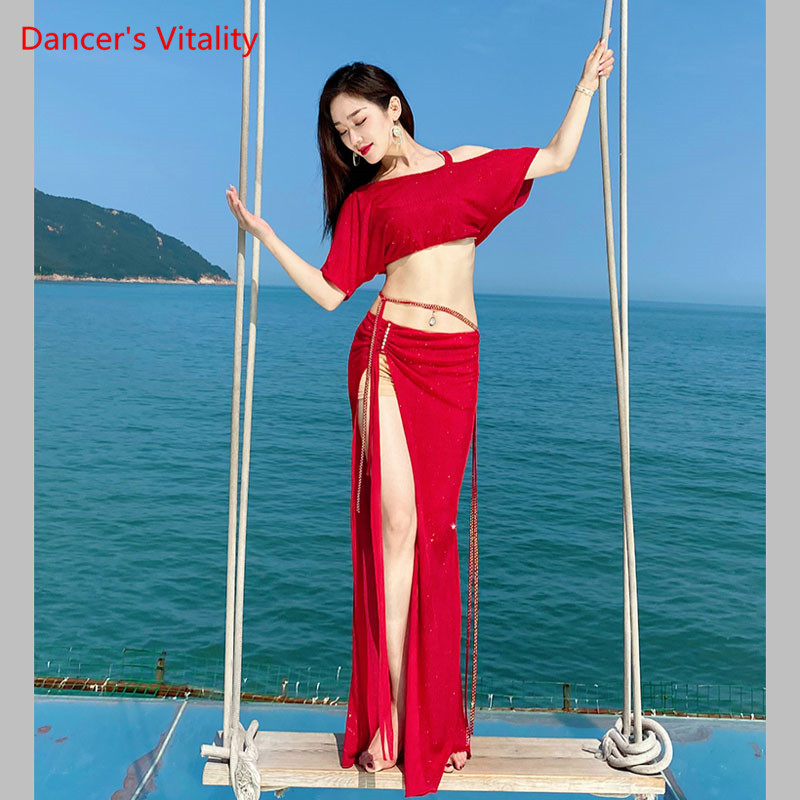 Belly Dance Set Female Sexy Top Exercise Clothes New Sequins Oriental Dancing Clothing Profession Performance Long Skirt Summer