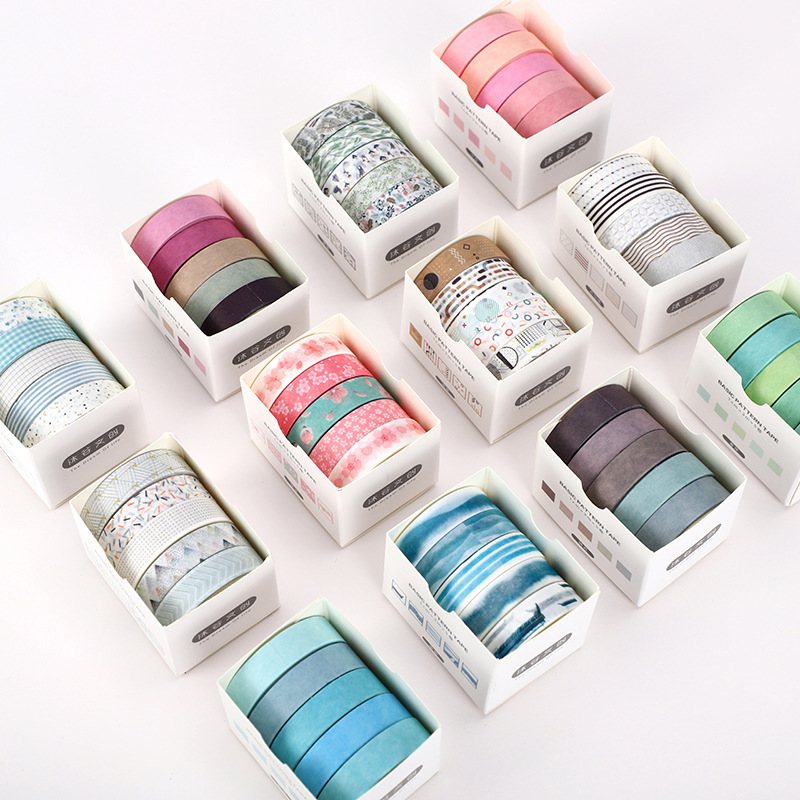 5Rolls/Set Colorful Print Washi Tape Japanese Paper DIY Planner Masking Tape Adhesive Tapes Sticker Decorative Stationery Tape