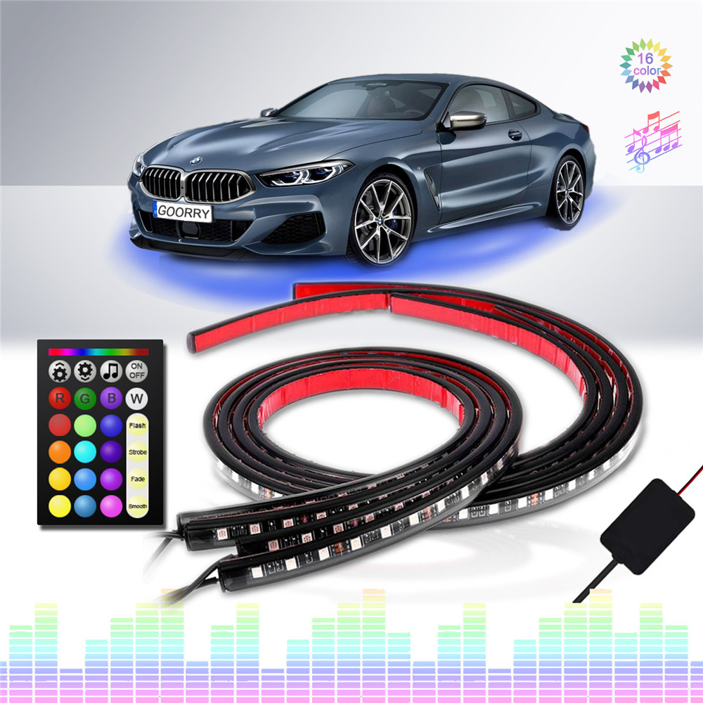 ambient light led strip car lights interior <font><b>12v</b></font> waterproof SMD5050 rgb 24key music control chassis light bar tiras led para auto image