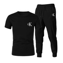 2021 New CK Men's Summer Sports And Leisure Suit T-Shirt + Pants Track And Field Jogging Shirt