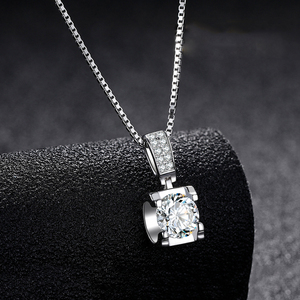 BOEYCJR 925 серебро 0.5ct/1ct/2ct F цвет Moissanite VVS помолвка элегантная Свадебная подвеска, ожерелье для женщин Подарок на годовщину