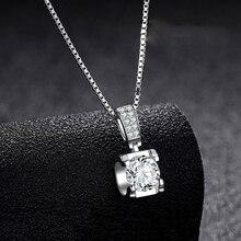 Женский кулон на помолвку BOEYCJR, элегантное ожерелье из серебра 925 пробы 0.5ct/1ct/2ct F, Подарок на годовщину