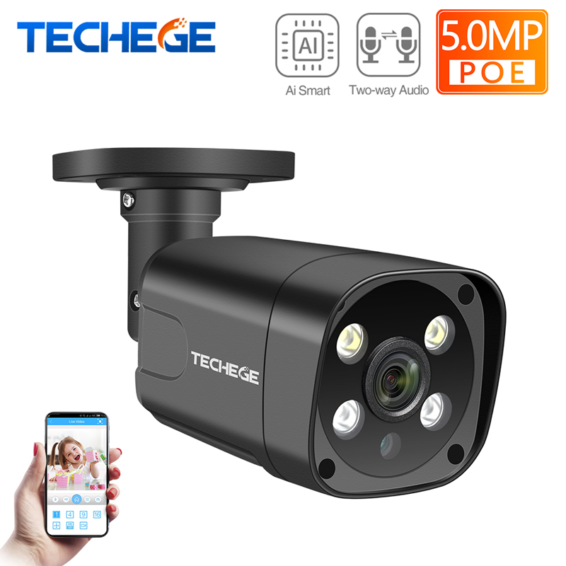 Techege Super HD 5MP Two-way Audio Security POE IP Camera ONVIF Human Detection Outdoor Waterproof CCTV Camera For POE NVR