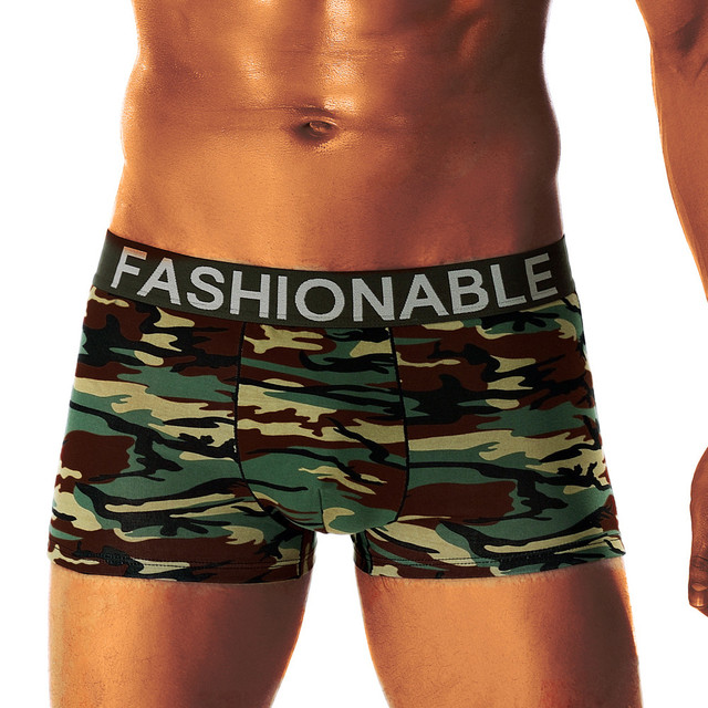 New Fashion Camouflage Men's Boxer Cotton Breathable Elastic Underwear
