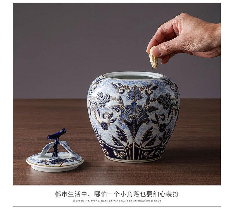 Azul e branco vaso de porcelana decoração