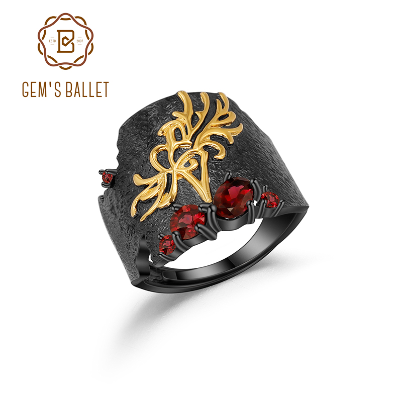 GEM'S BALLET Natural Red Garnet Gemstones Ring 925 Sterling Silver Handmade Equinox Flower Band Rings For Women Fine Jewelry