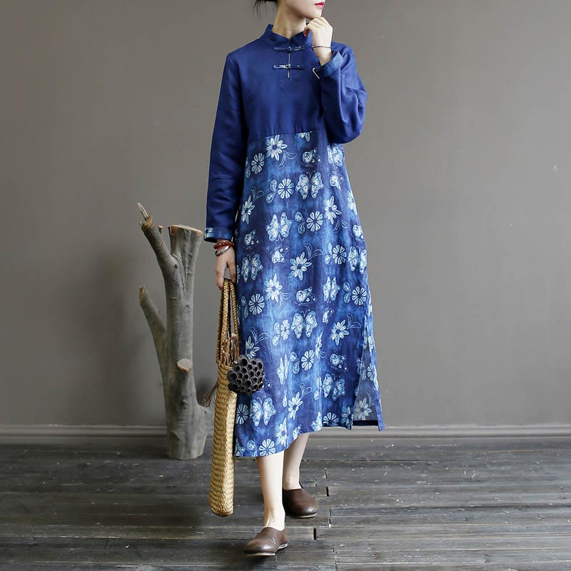 Nefeilike Cotton Linen Dress Loose Women Autumn Robes Stand Long Sleeve Print Floral Women Clothing Button Dress Casual Vintage