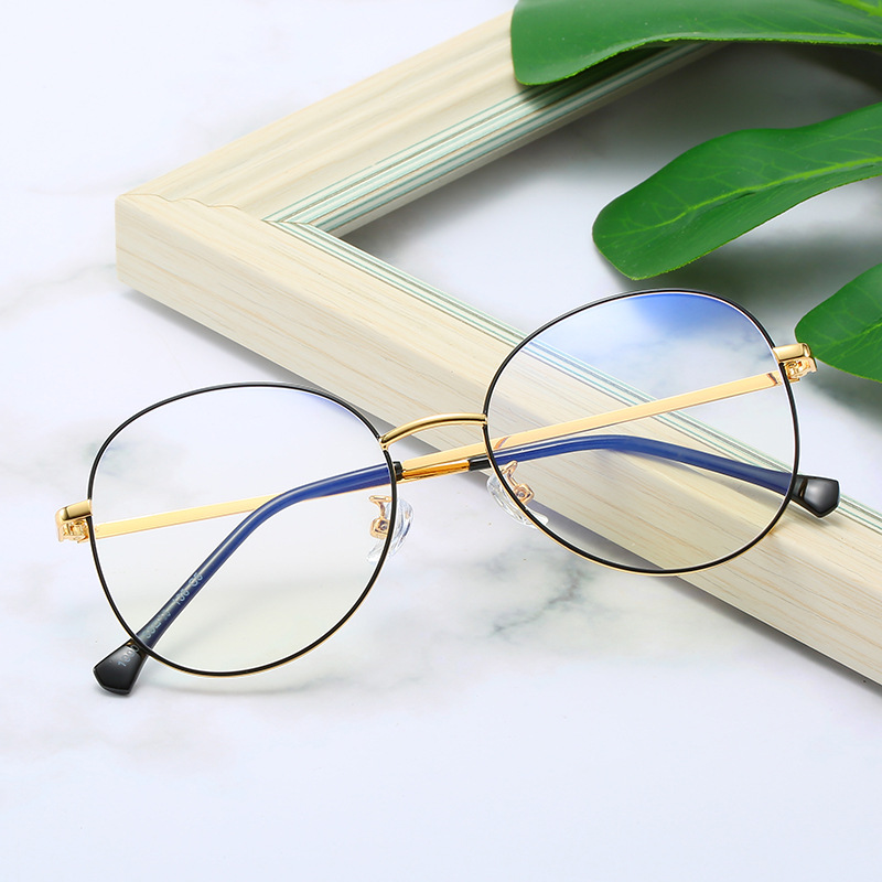 Trend New Style All-Metal Retro Glasses Frame Ultra-Light Women's Nearsighted Glasses Plain Glasses Anti-Blueray Rayban