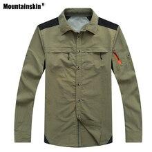 Mountainskin, мужские летние походные рубашки, быстросохнущие, для спорта на открытом воздухе, дышащие, для рыбалки, Походов, Кемпинга, тонкая одежда с соединением внахлёст VA619