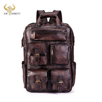 Quality Leather Fashion Travel College School Bag Design Male Heavy Duty Large Backpack Daypack Student Laptop Bag Men 1170-dc - DISCOUNT ITEM  49 OFF Luggage & Bags