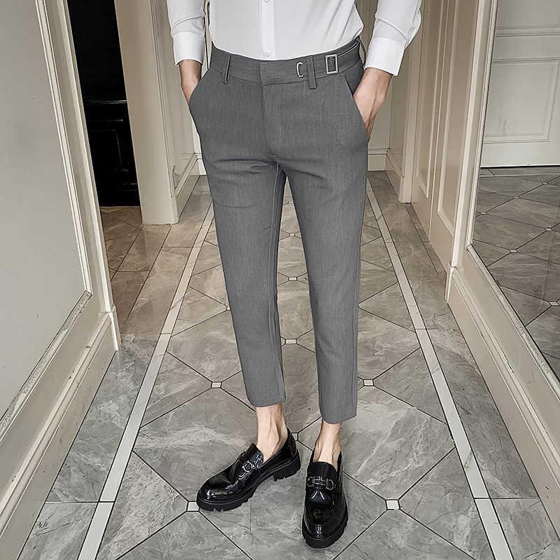Pantalones Ajustados Informales Para Hombre Ropa De Calle Pantalon Formal Traje Moda Primavera 2020 Pantalones De Traje Aliexpress