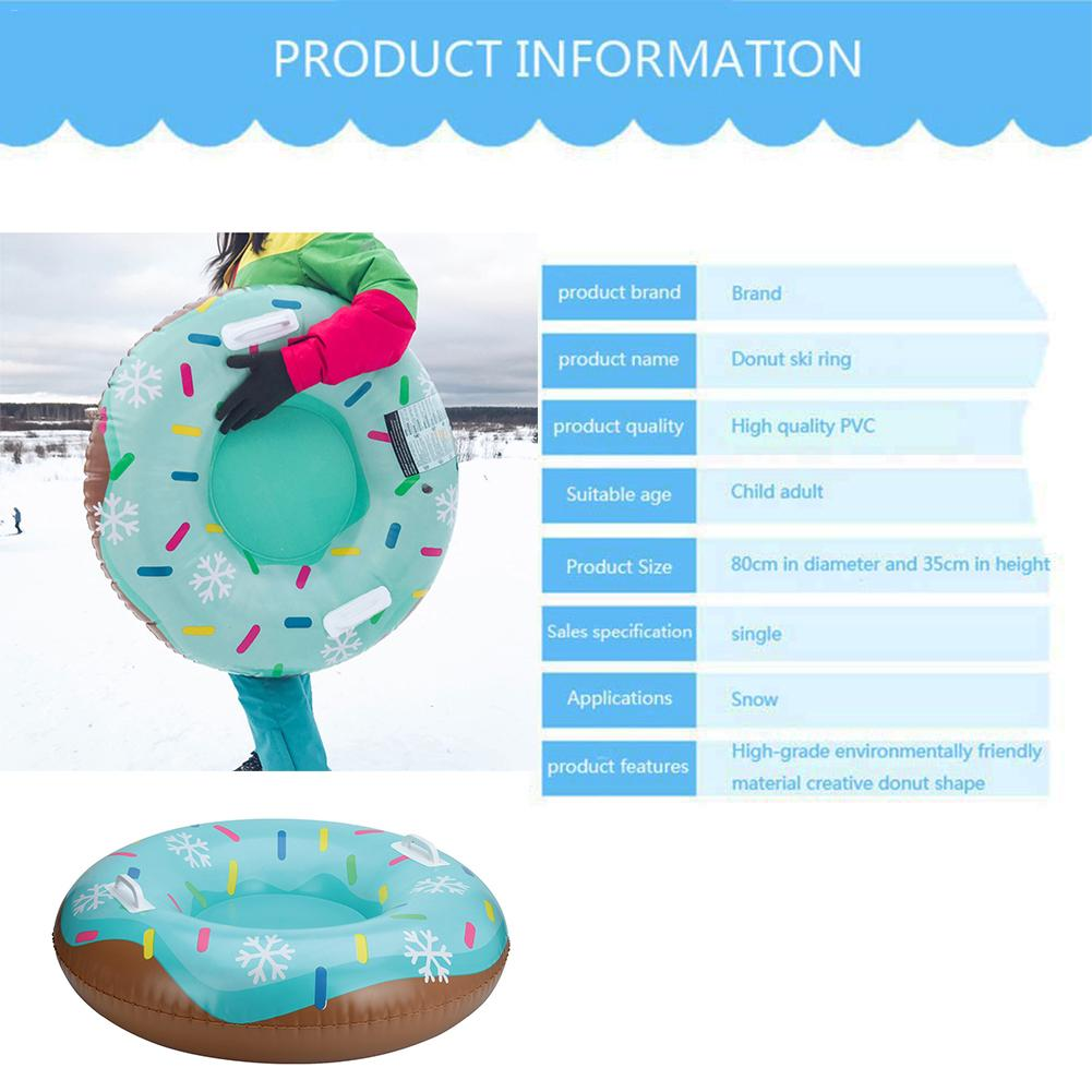 Ski Ring Inflatable Floated Sled Durable With Handle Outdoor Children Adult Snow Tube Skiing Equipments Floated Skiing Board