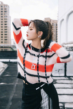 Star Yang Exceeds Same Mohair String Ribbon Striped Sweater Women  2019 O-Neck Pullovers