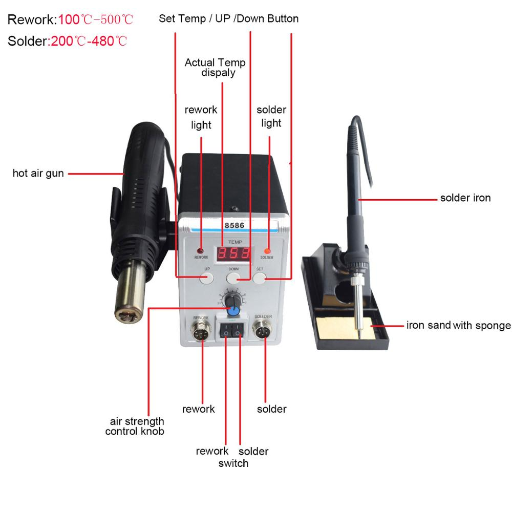 Lead Free Digital Soldering Station with Hot Air Gun for Repairing Chip of Electronic Instruments 1