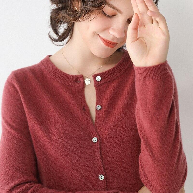 Новинка весна-осень, кашемировый кардиган LHZSYY, женский свободный вязаный свитер с круглым вырезом, короткая Базовая рубашка, теплая куртка ...